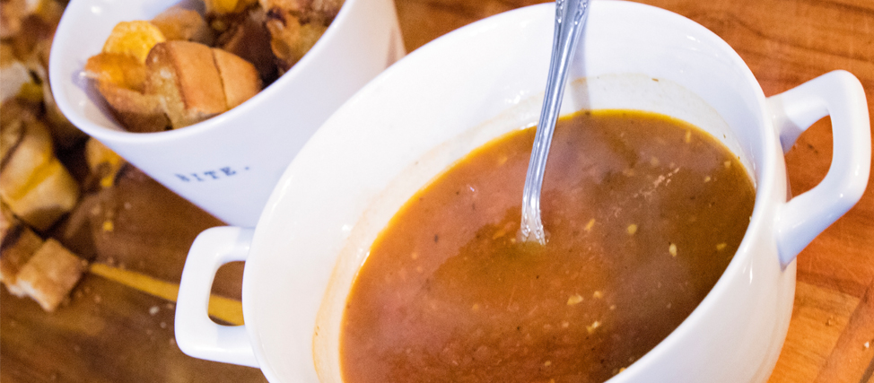 Roasted Tomato Soup + Grilled Cheese Croutons